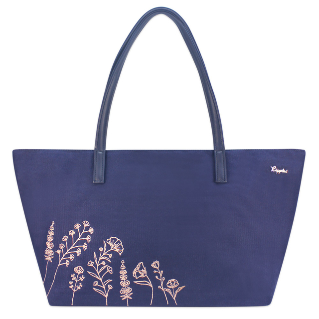 Estella Floral Embroidery Handbag (Navy Blue)