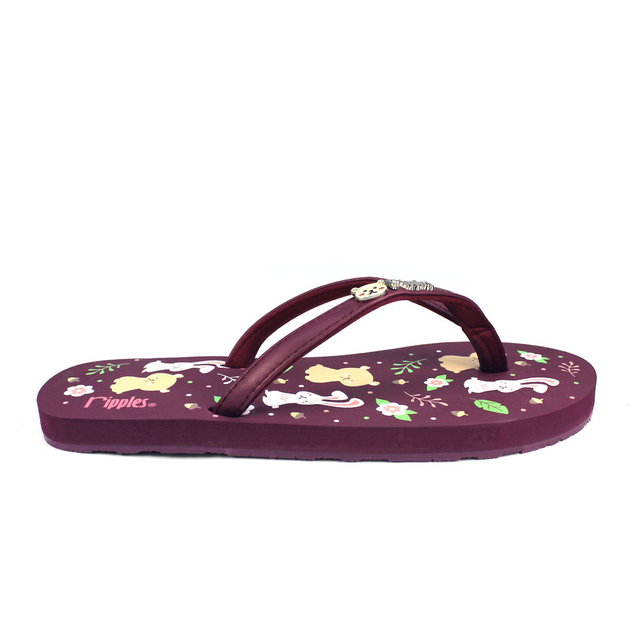 [SALE] Teddy Rabbit Ladies Flip Flops (Maroon)