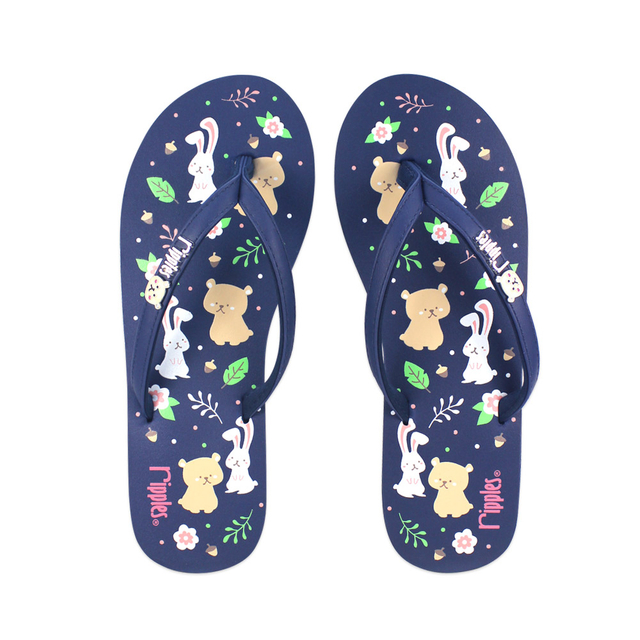 [SALE] Teddy Rabbit Ladies Flip Flops (Navy Blue)