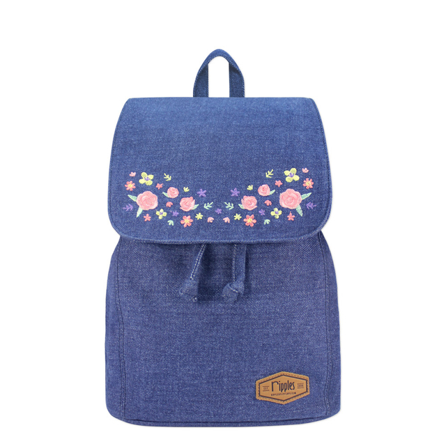 Sweet Garden Floral Embroidery Ladies Backpack (Mid Blue Denim)