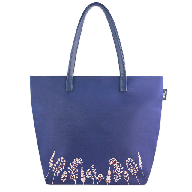 [PROMO] Estella Floral Embroidery Tote Bag (Navy Blue)