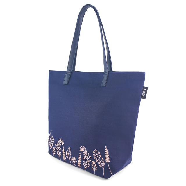 Estella Floral Embroidery Tote Bag (Navy Blue)