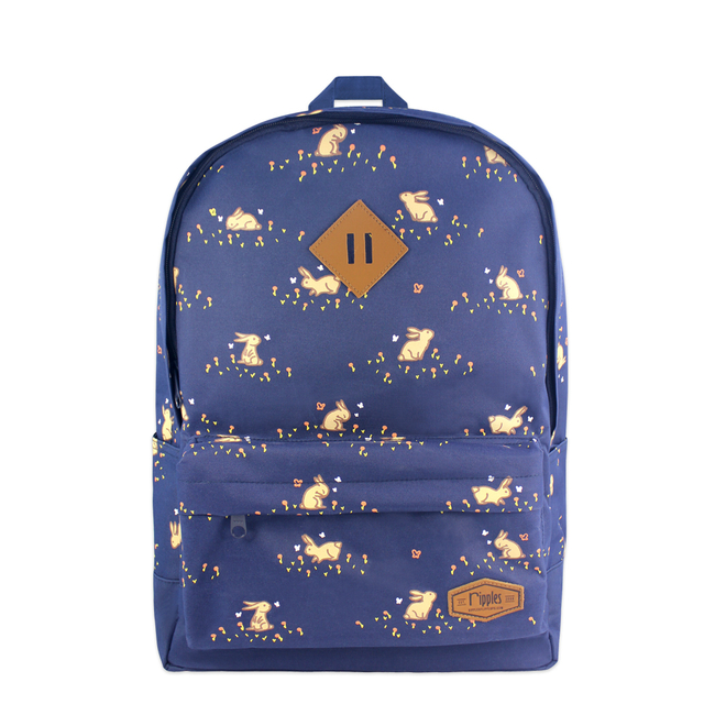 Meadow Rabbits School Backpack (Navy Blue)