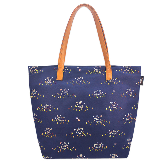 Meadow Rabbits Tote Bag (Navy Blue)