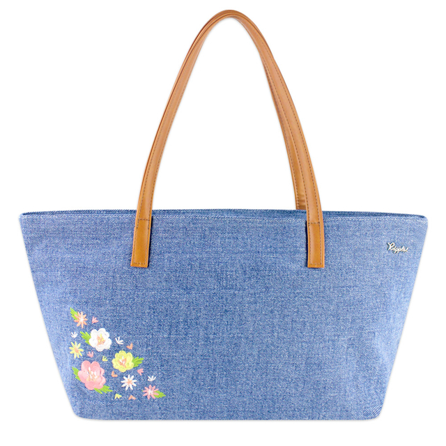 Spring Blossom Floral Embroidery Handbag (Light Denim)