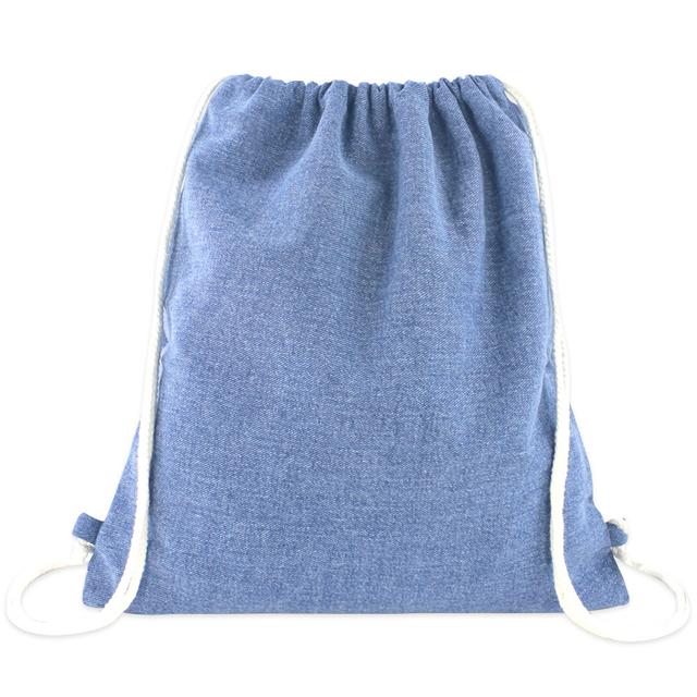 [PROMO] Denim Ladies Drawstring Backpack (Light Blue Wash)