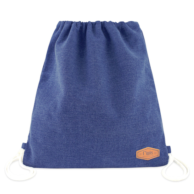 Denim Ladies Drawstring Backpack (Mid Blue Wash)