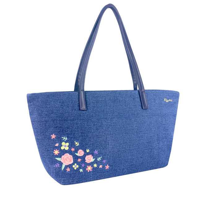 Sweet Garden Floral Embroidery Handbag (Mid Blue Denim)