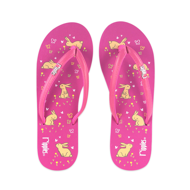 Meadow Rabbits Ladies Flip Flops (Pink)