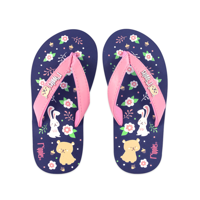 Teddy Rabbits Little Kids Flip Flops (Navy Blue)