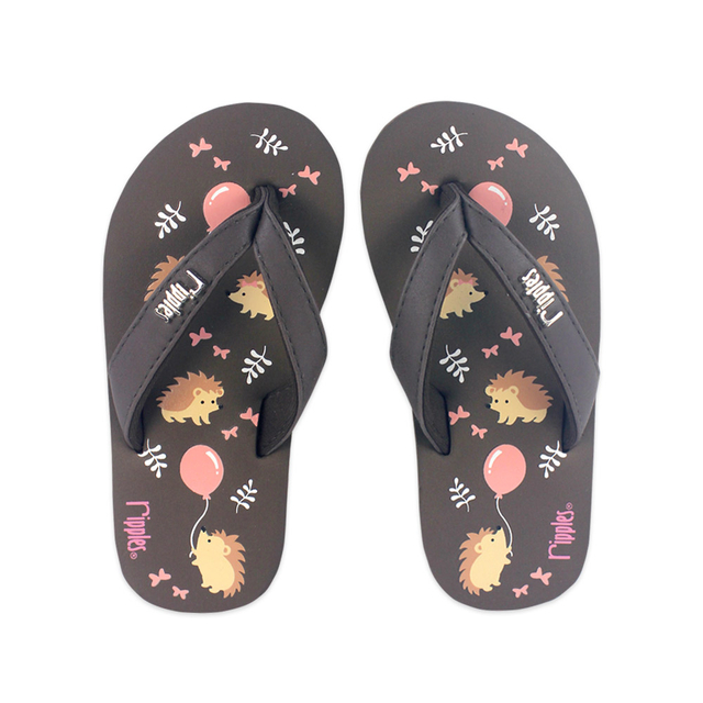 Hedgehog Little Kids Flip Flops (Brown)