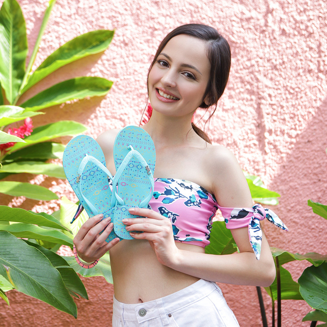 [SALE] Arika Aztec Ladies Flip Flops (Turquoise)