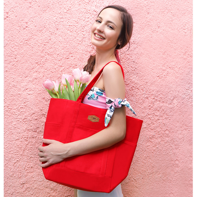 Caylie Carry-All Tote Bag (Red)