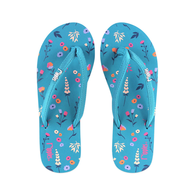 Alyssa Floral Ladies Flip Flops (Emerald Green)