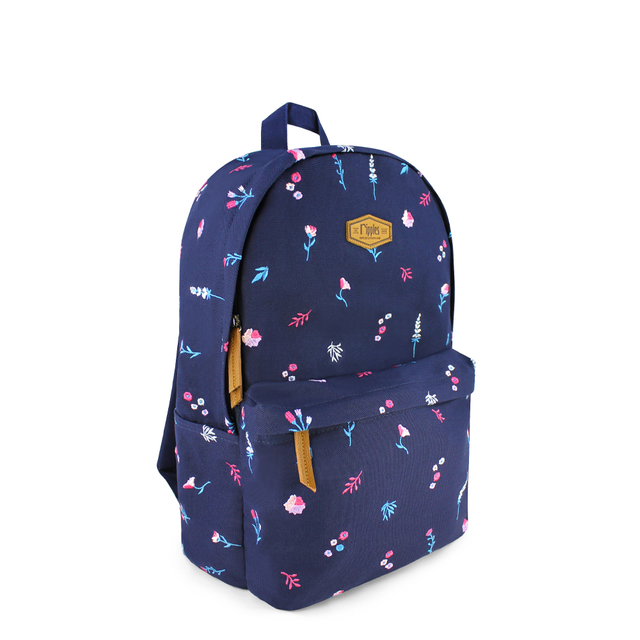 Alyssa Floral Embroidery Canvas Backpack (Navy Blue)