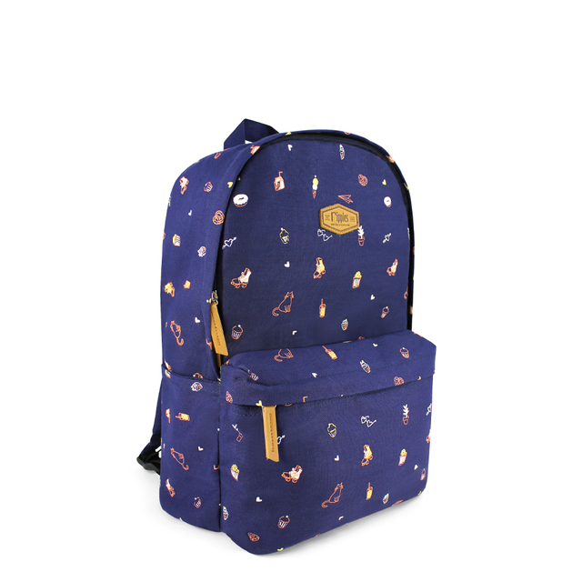 Tiny Things Canvas Backpack (Navy Blue)