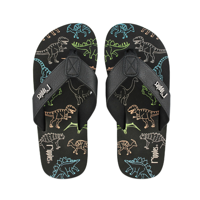 Dinosaur Big Kids Flip Flops (Black)