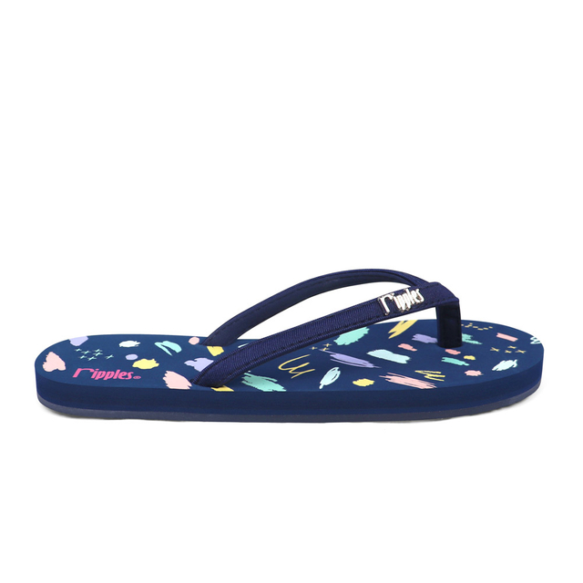 Scribbles Brushstrokes Ladies Flip Flops (Navy Blue)