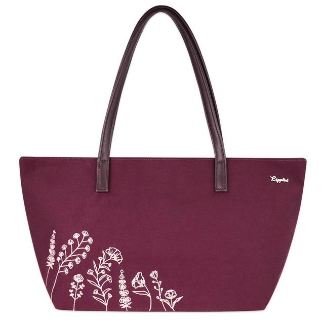 Estella Floral Embroidery Handbag (Maroon)