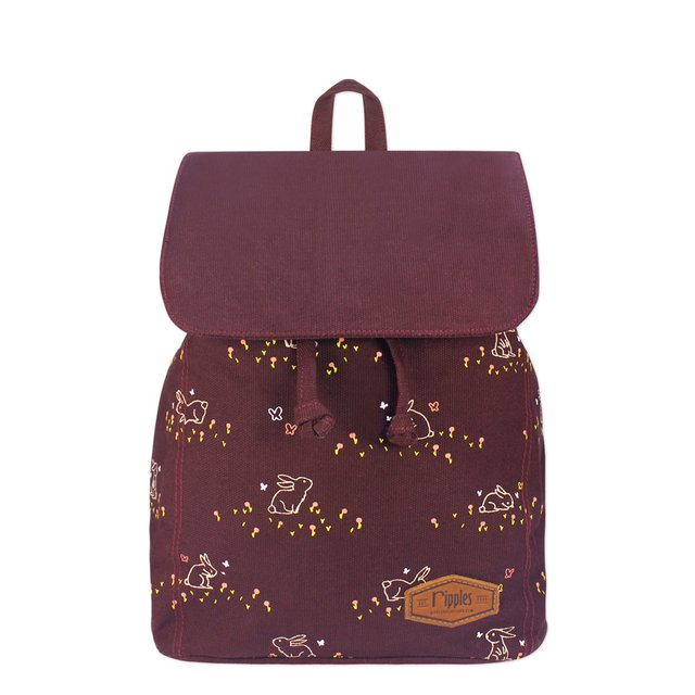 Meadow Rabbits Ladies Backpack (Maroon)