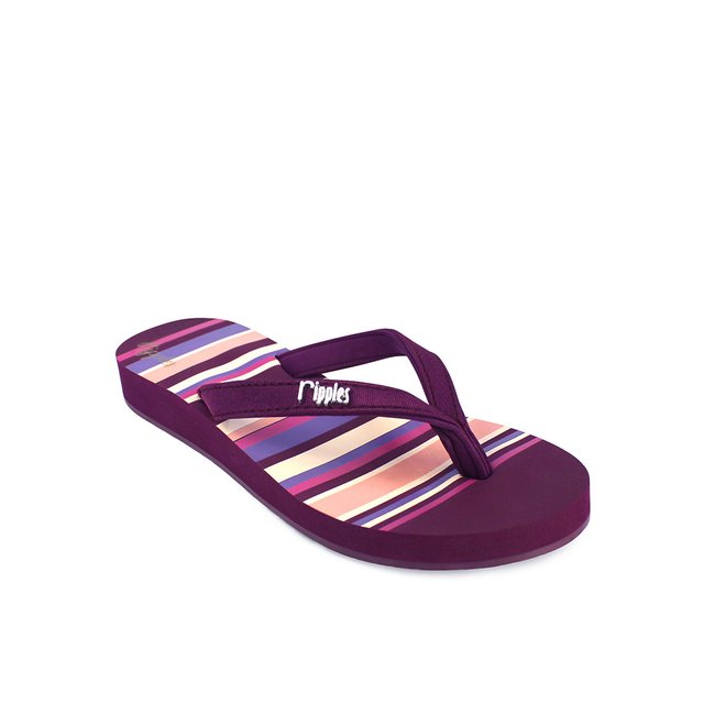 Lynette Stripes Ladies Sandals (Maroon)