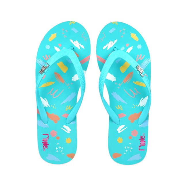 Scribbles Brushstrokes Ladies Flip Flops (Teal)