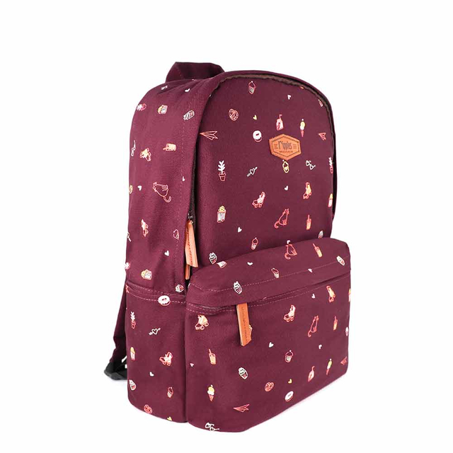 Tiny Things Canvas Backpack (Maroon)