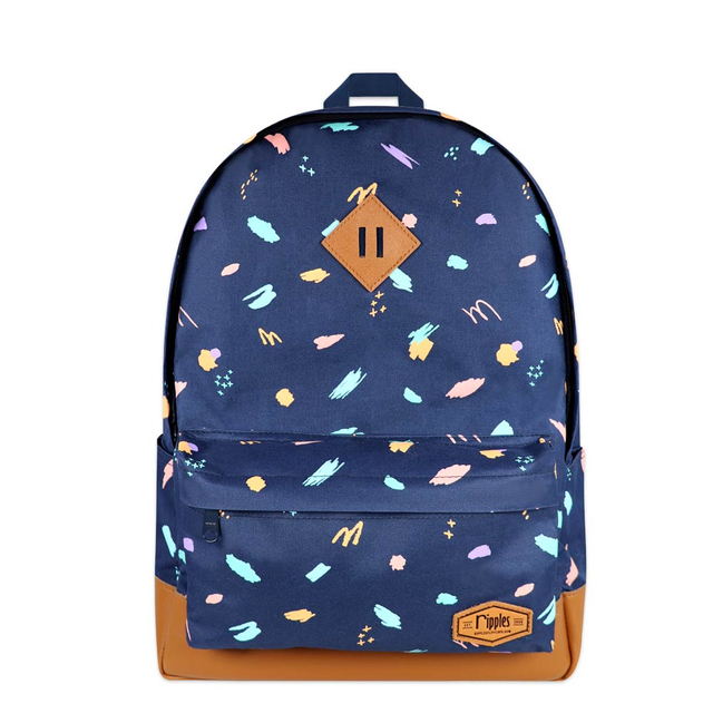 Scribbles Brushstrokes School Backpack (Navy Blue)
