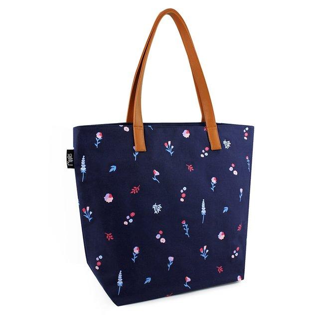 Alyssa Florals Tote Bag (Navy Blue)