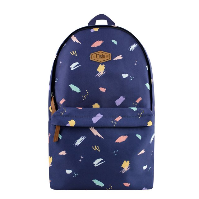 Scribble Brushstrokes Digital Print Backpack (Navy Blue)