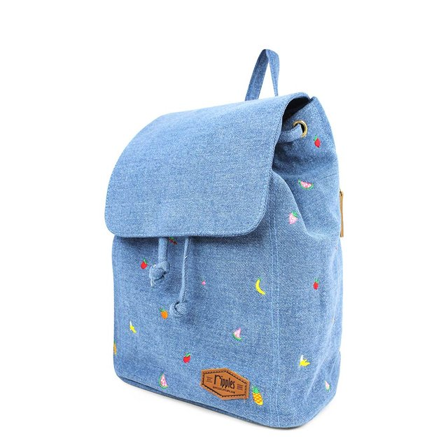 Tropical Fruits Embroidery Ladies Backpack (Light Denim)