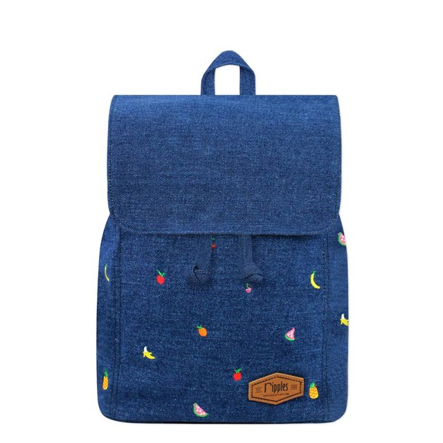 Tropical Fruits Embroidery Ladies Backpack (Mid Denim)
