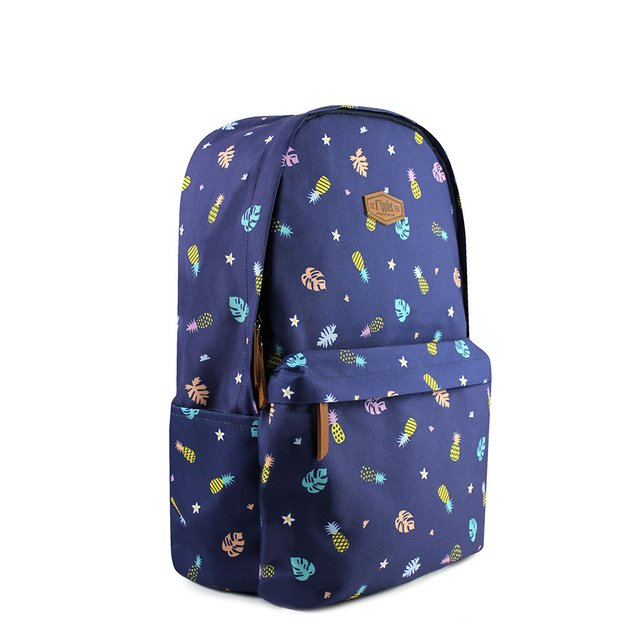 Pineapple Digital Print Backpack (Navy Blue)
