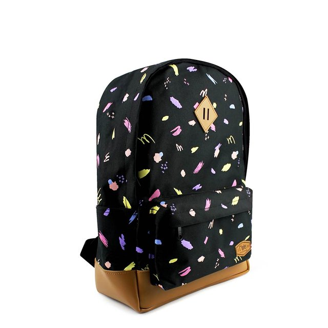 Scribbles Brushstrokes School Backpack (Black)