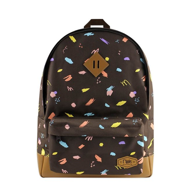 Scribbles Brushstrokes School Backpack (Brown)