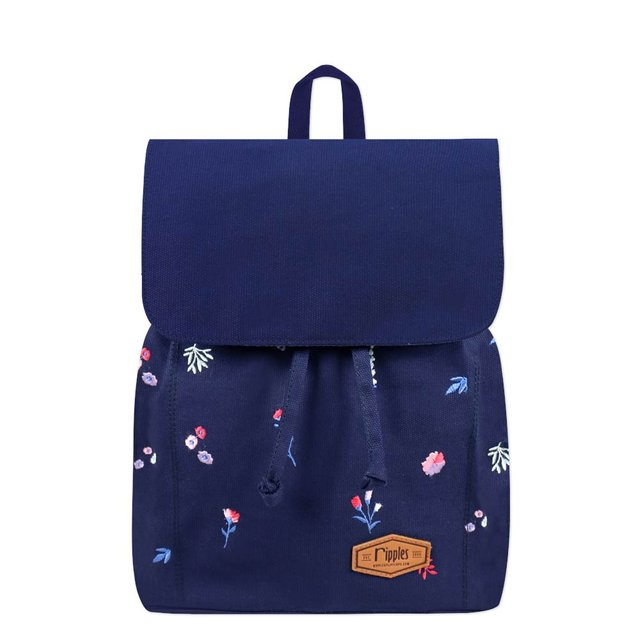 Alyssa Floral Embroidery Ladies Backpack (Navy Blue)