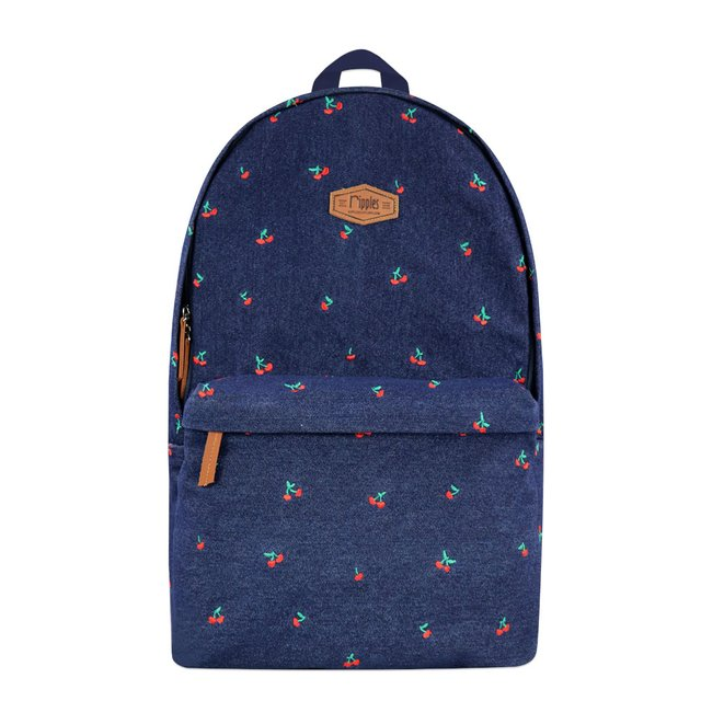 Cherry Embroidery Denim Backpack (Dark Wash)