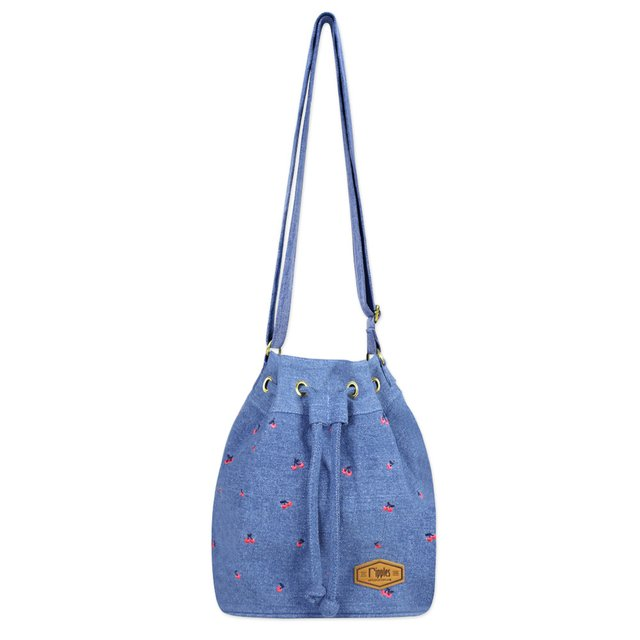 Cherry Embroidery Bucket Sling Bag (Light Wash Denim)
