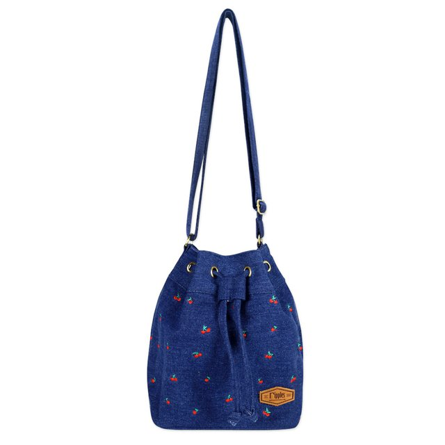 Cherry Embroidery Bucket Sling Bag (Mid Blue Wash Denim)