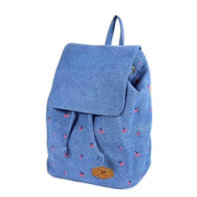 Cherry Embroidery Ladies Backpack (Light Denim)