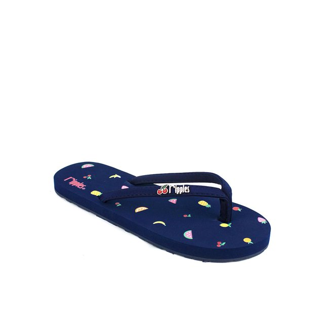 Tropical Fruits Ladies Flip Flops (Navy Blue)