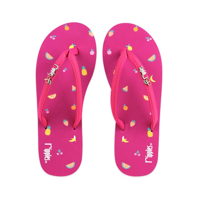 Tropical Fruits Ladies Flip Flops (Pink)