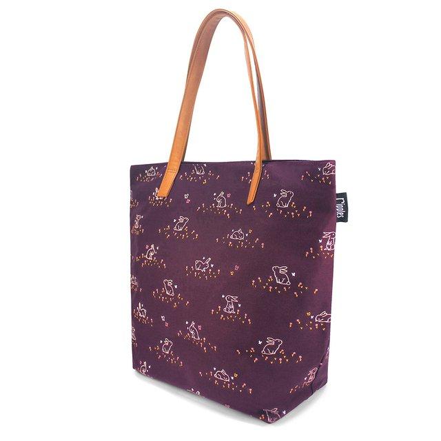Meadow Rabbits Tote Bag (Maroon)