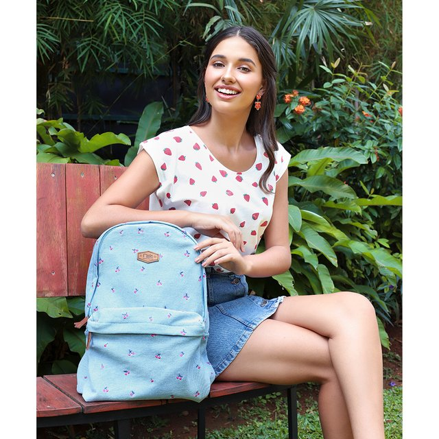 Cherry Embroidery Denim Backpack (Light Wash)