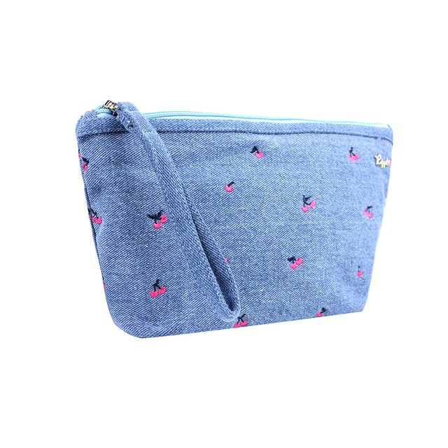Cherry Embroidery Denim Cosmetic Pouch (Light Wash)