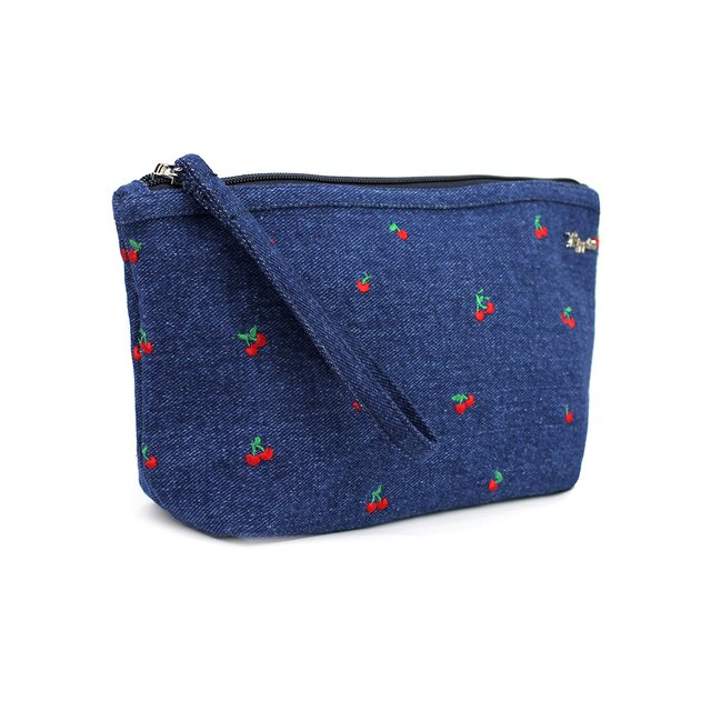 Cherry Embroidery Denim Cosmetic Pouch (Mid Blue Wash)
