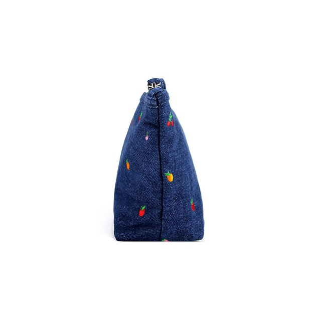 Tropical Fruits Embroidery Denim Cosmetic Pouch (Mid Blue Wash)