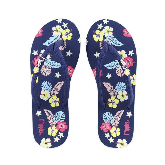 Kariyushi Floral Ladies Flip Flops (Navy Blue)