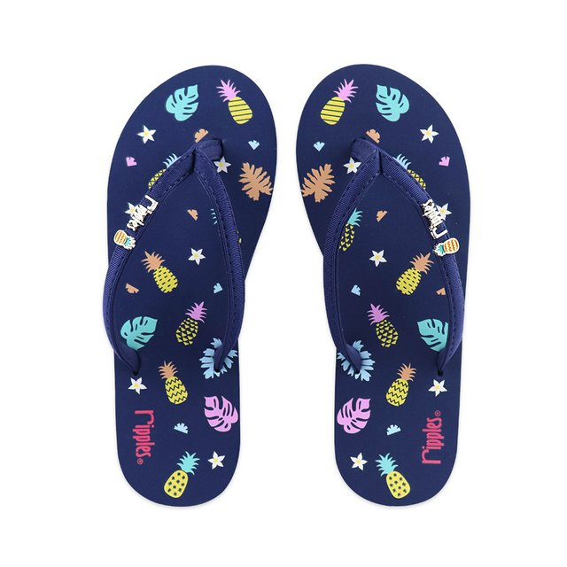 Pineapple Ladies Flip Flops (Navy Blue)