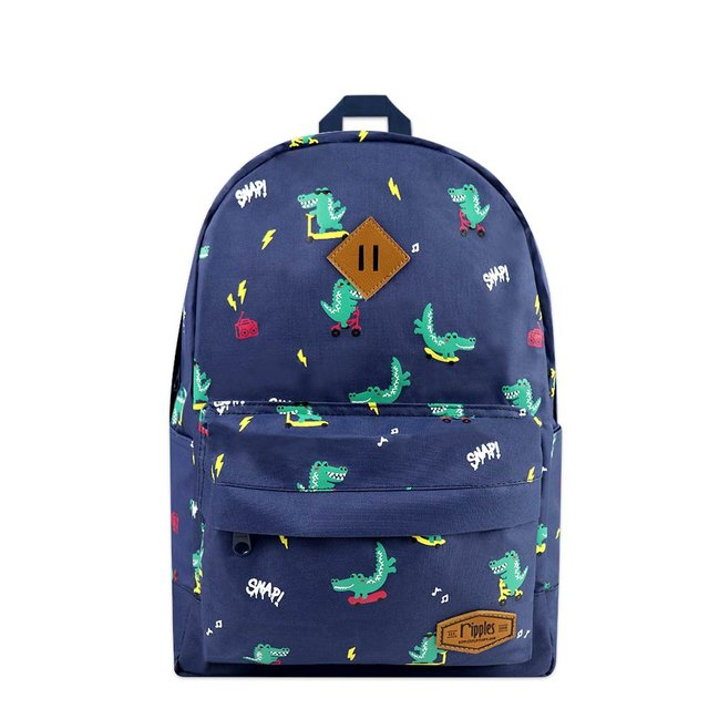 Crocodile Mid Sized Kids School Backpack (Navy Blue)